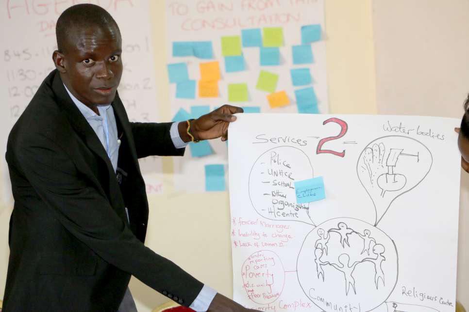 Саймон Марот Тулонг, бежавший в Уганду из Южного Судана, делает презентацию на Глобальных консультациях молодых мигрантов и молодежи из принимающих стран.