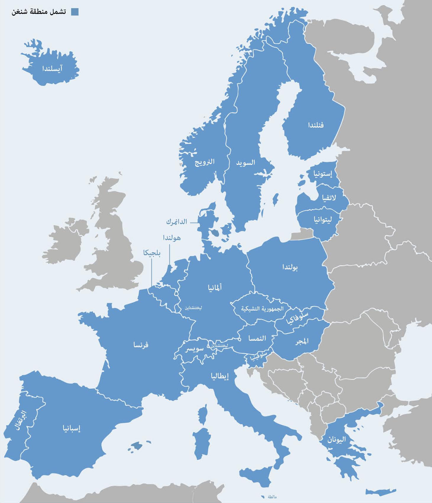 Map of the Schengen area